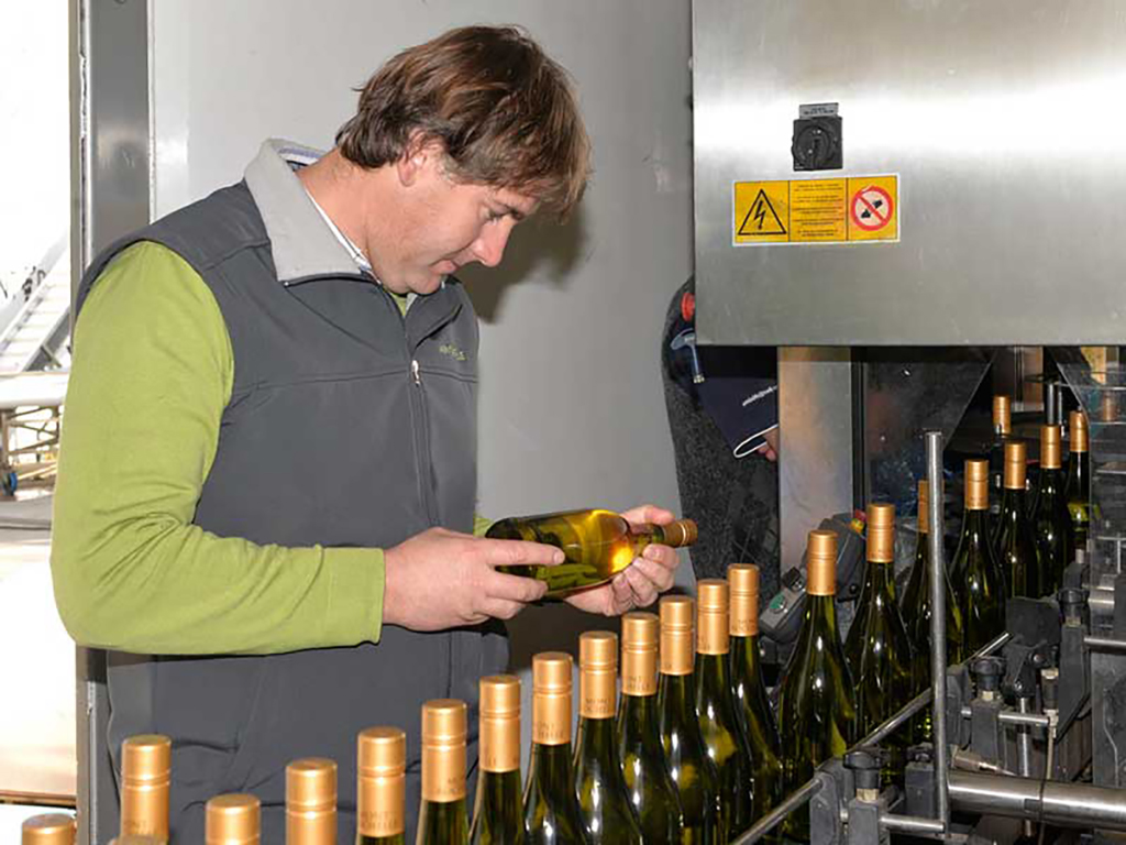 Dustin Osborne inspecting the Mont Rochelle wine