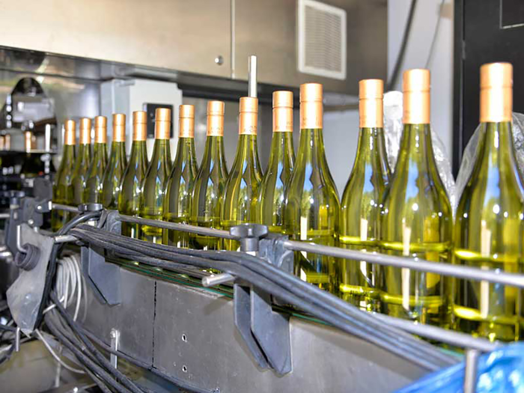 Mont Rochelle wine on the conveyor belt