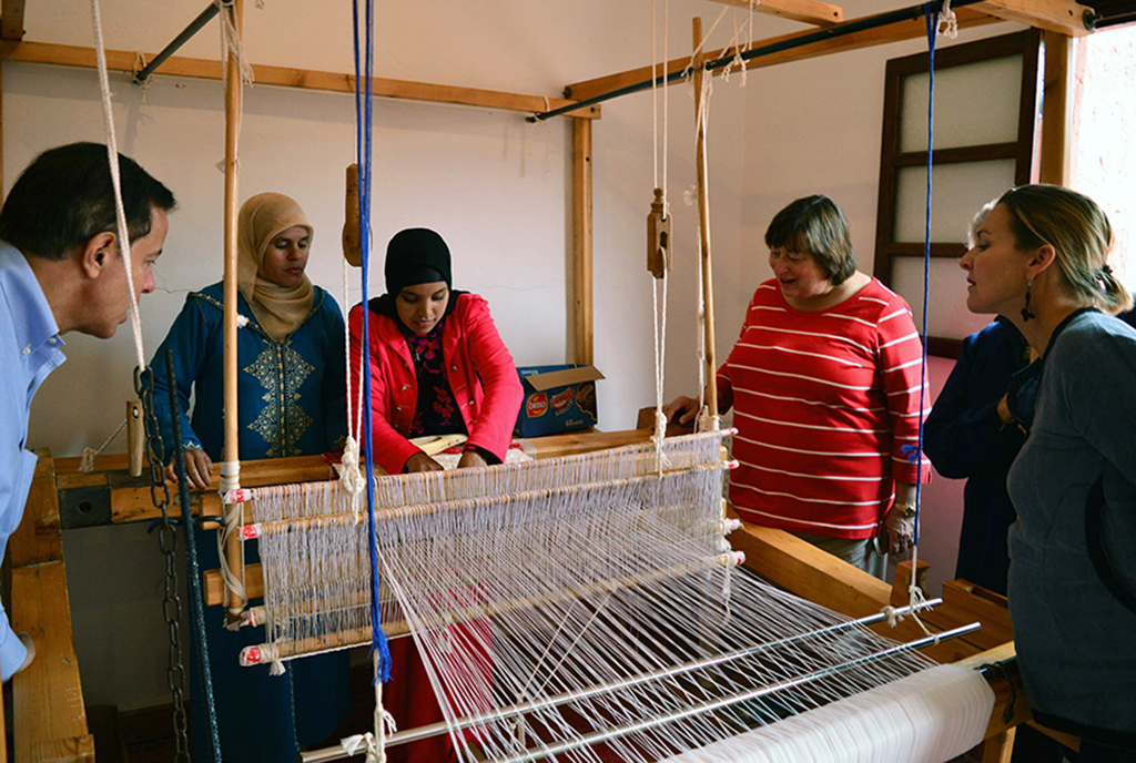 Under SecretaryCathy Novelli visiting the Weaving Workshop in Tamgounssi