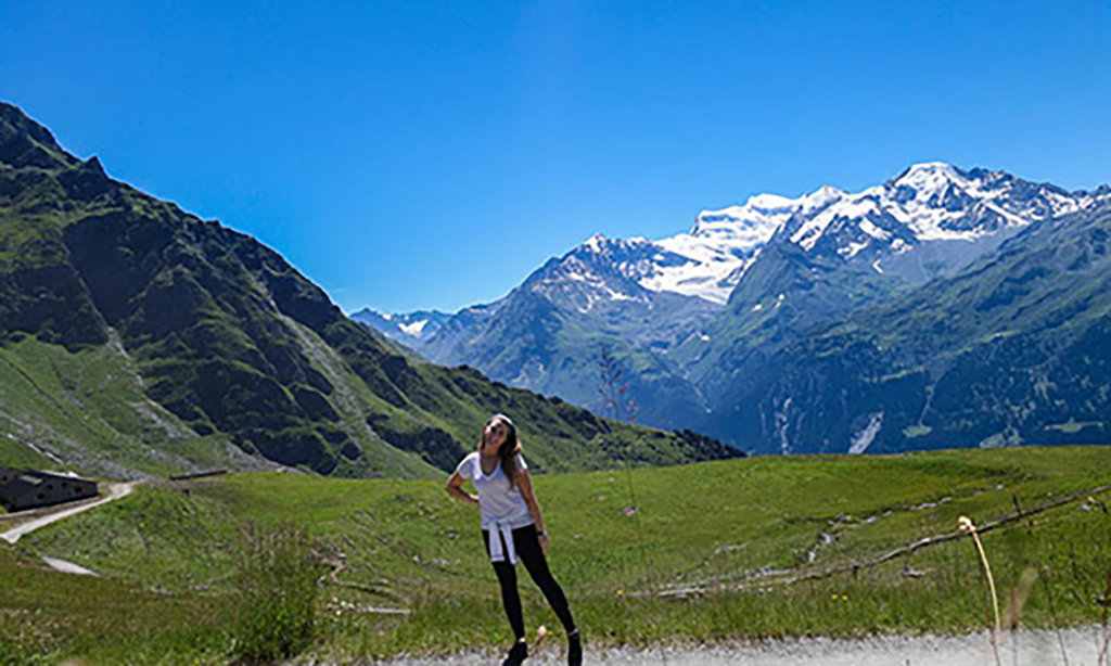 Veronica out on walk in the Swiss Alps