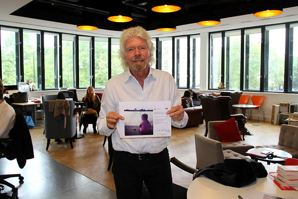 Sir Richard Branson with Give a Flying Duck runner-up picture