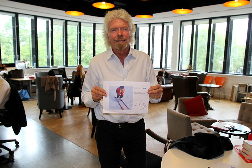 Sir Richard Branson with Give a Flying Duck winning picture