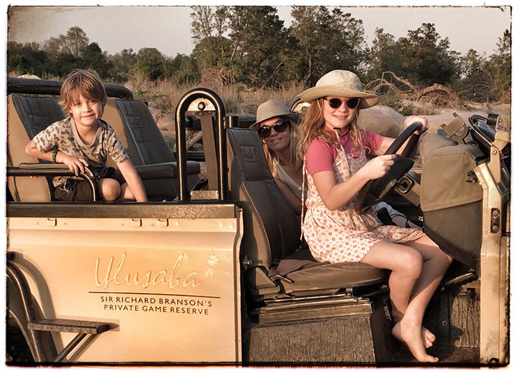 Taeghan Langdon with her mum and brother on a game drive at Ulusaba