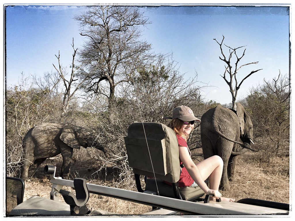 Taeghan Langdon on a game drive and Ulusaba watching elephants