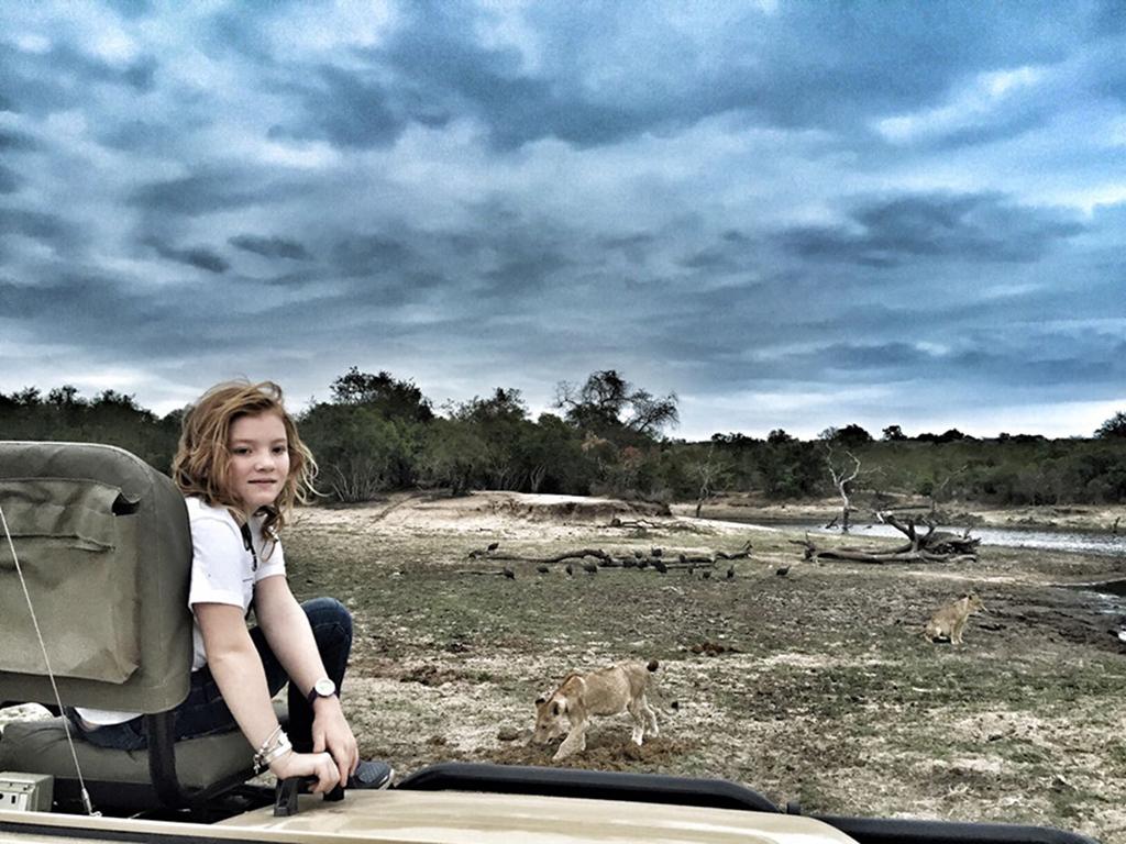 Taeghan Langdon on a game drive at Ulusaba