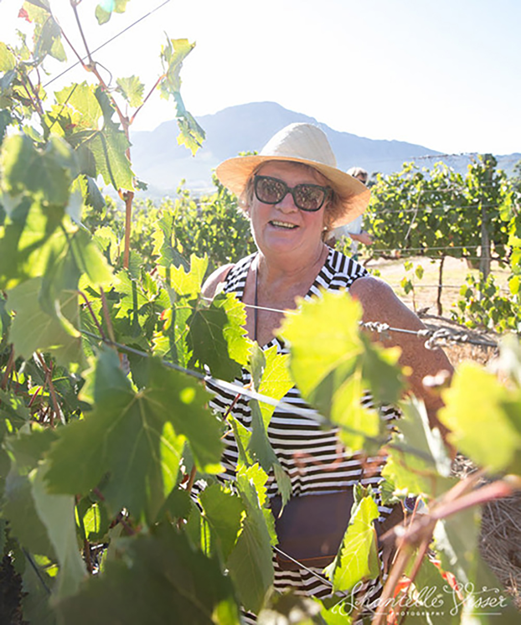 Elaine Jones in the vineyard at Mont Rochelle