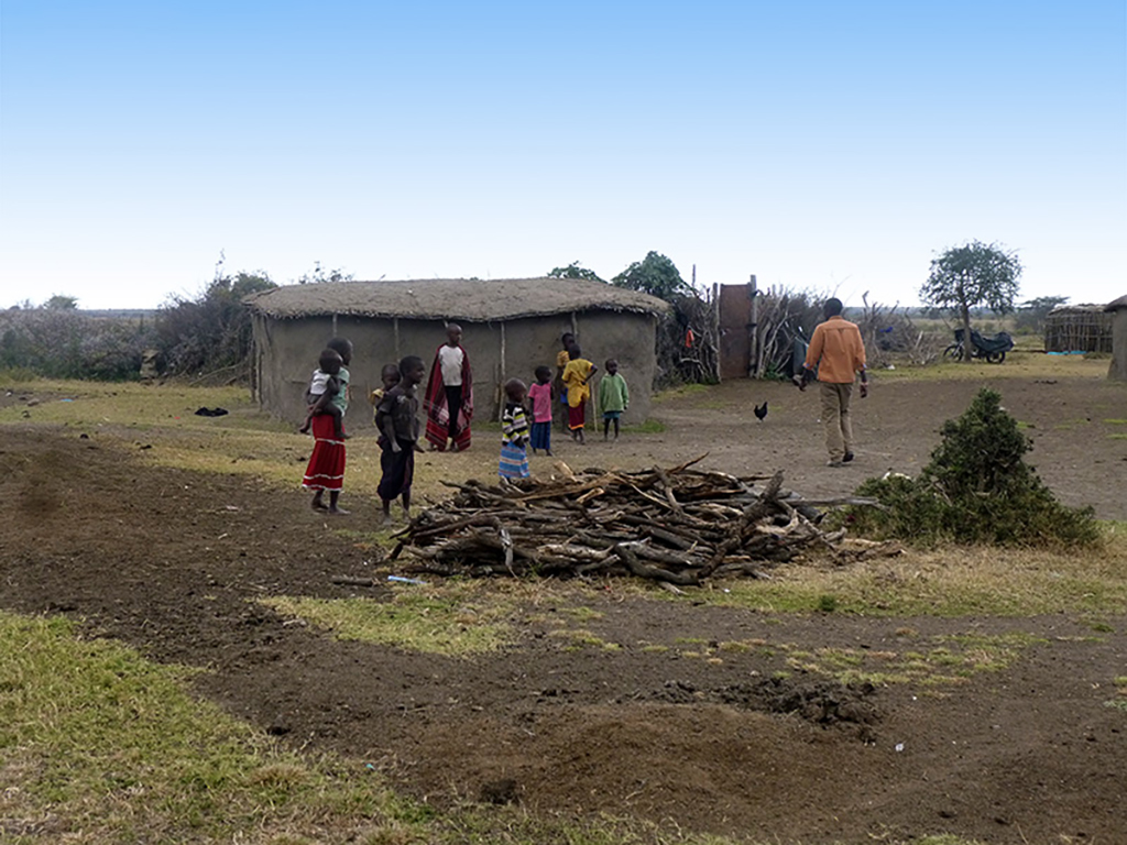 A group of children playing near the village