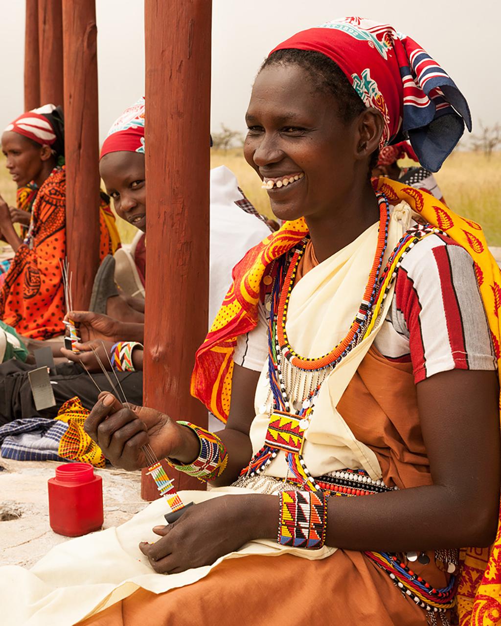 Three ladies from the Maa Beadwork
