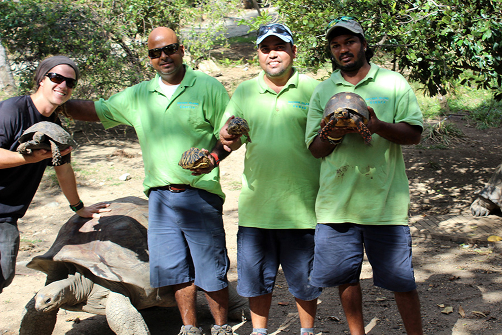 Our fantastic wildlife team on Necker! Thanks Vaman, Fabio, Ulance and Chetan.