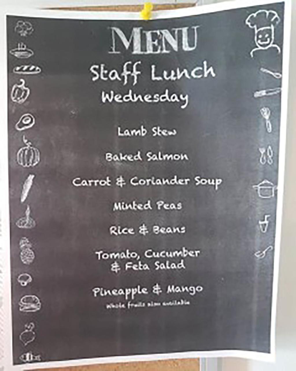 A staff lunch menu on Necker Island