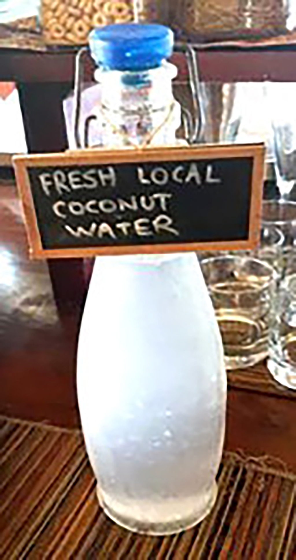 A bottle of locally produced coconut water