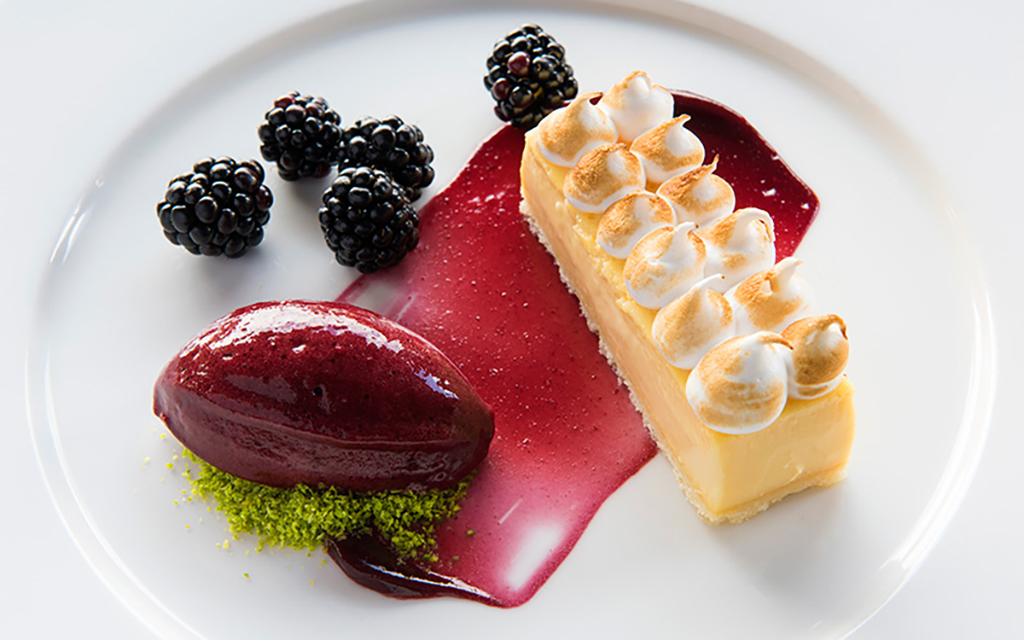 A cheescake with blackberry sorbet from The Lodge