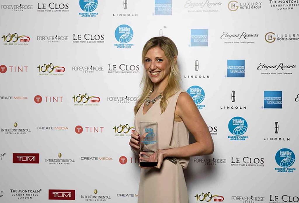 Virgin Limited Edition PR Manager, Charlotte Dollin, accepting the award for Mahali Mzuri